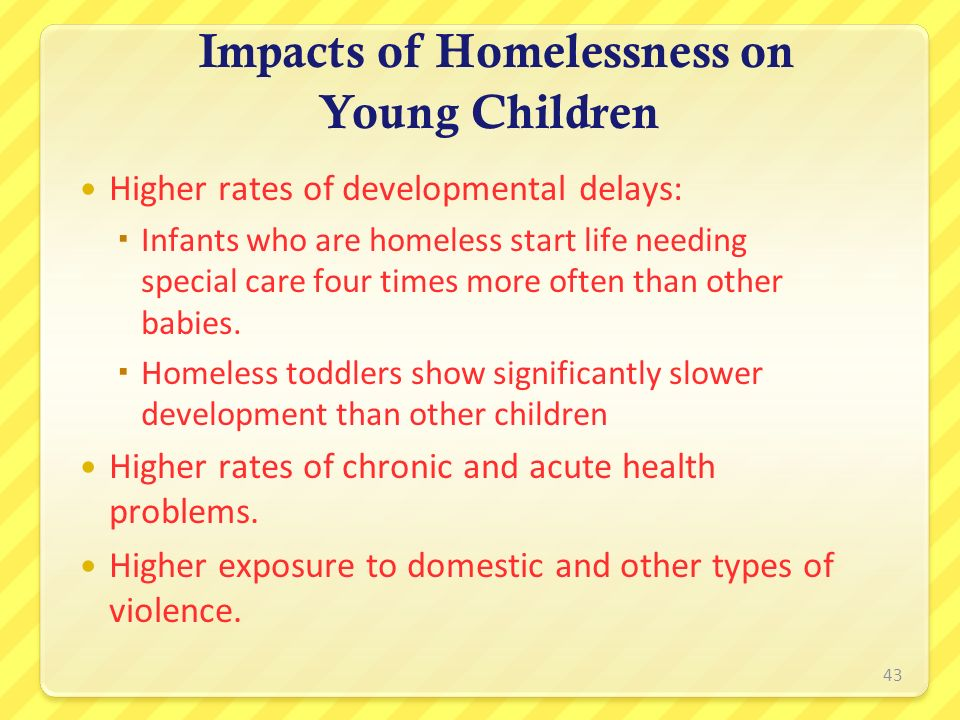Impacts of Homelessness on Young Children