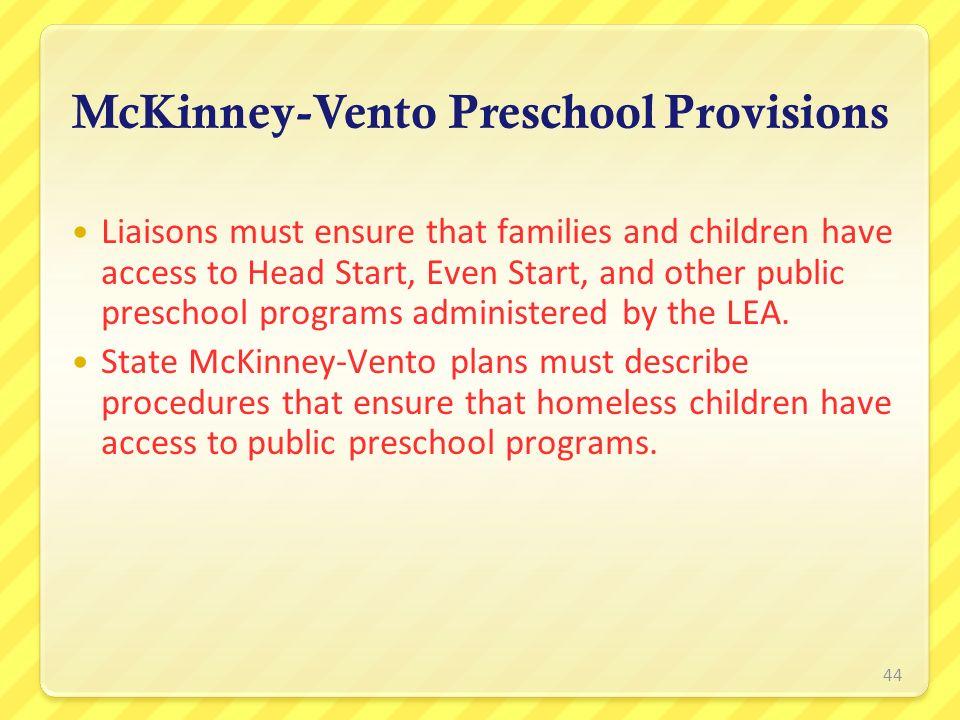 McKinney-Vento Preschool Provisions
