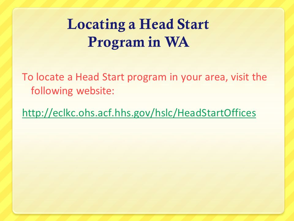 Locating a Head Start Program in WA