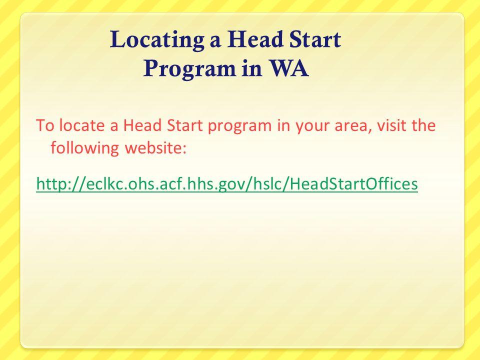 Locating a Head Start Program in WA