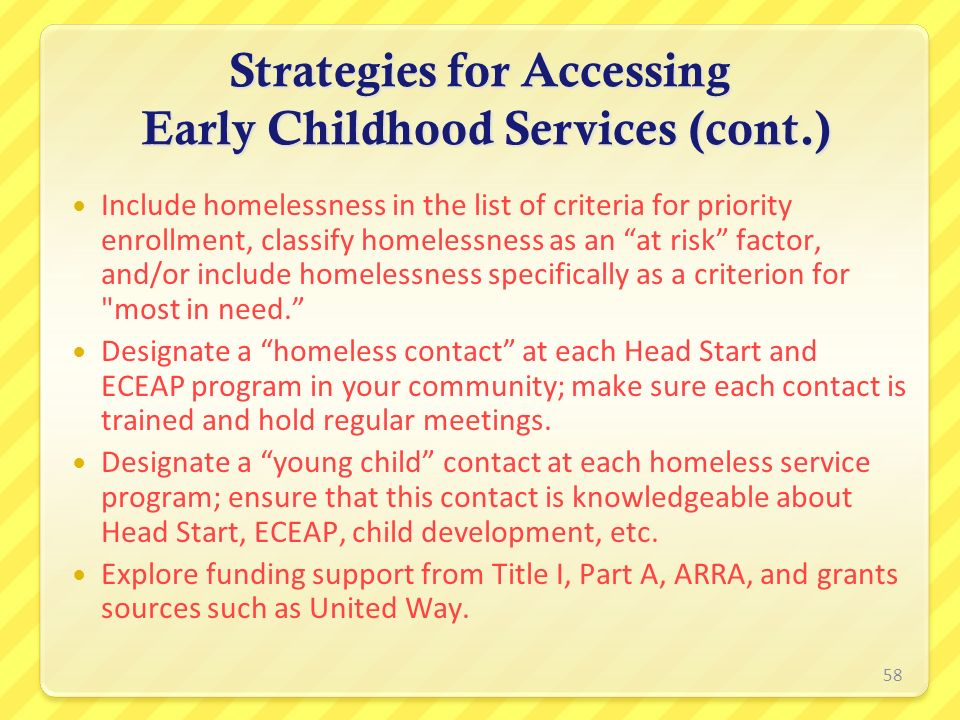 Strategies for Accessing Early Childhood Services (cont.)