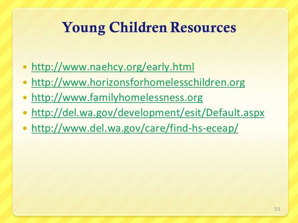 Young Children Resources