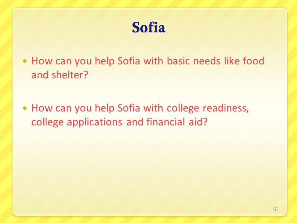 Sofia How can you help Sofia with basic needs like food and shelter