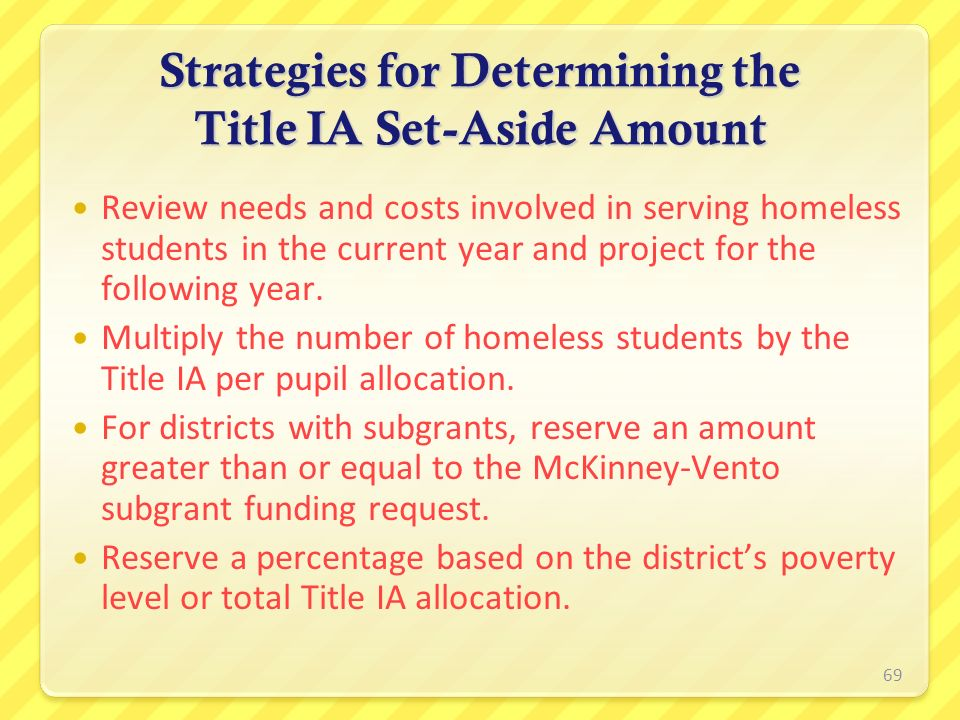 Strategies for Determining the Title IA Set-Aside Amount