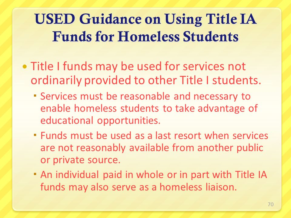USED Guidance on Using Title IA Funds for Homeless Students