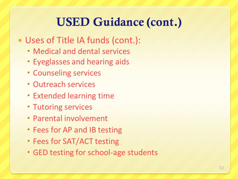 USED Guidance (cont.) Uses of Title IA funds (cont.):