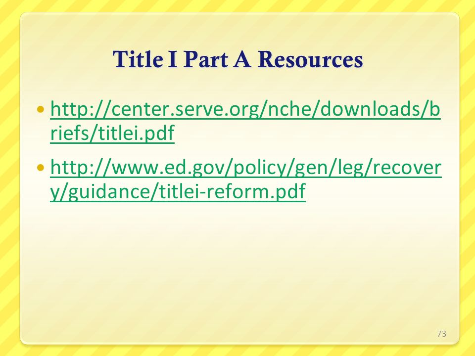 Title I Part A Resources