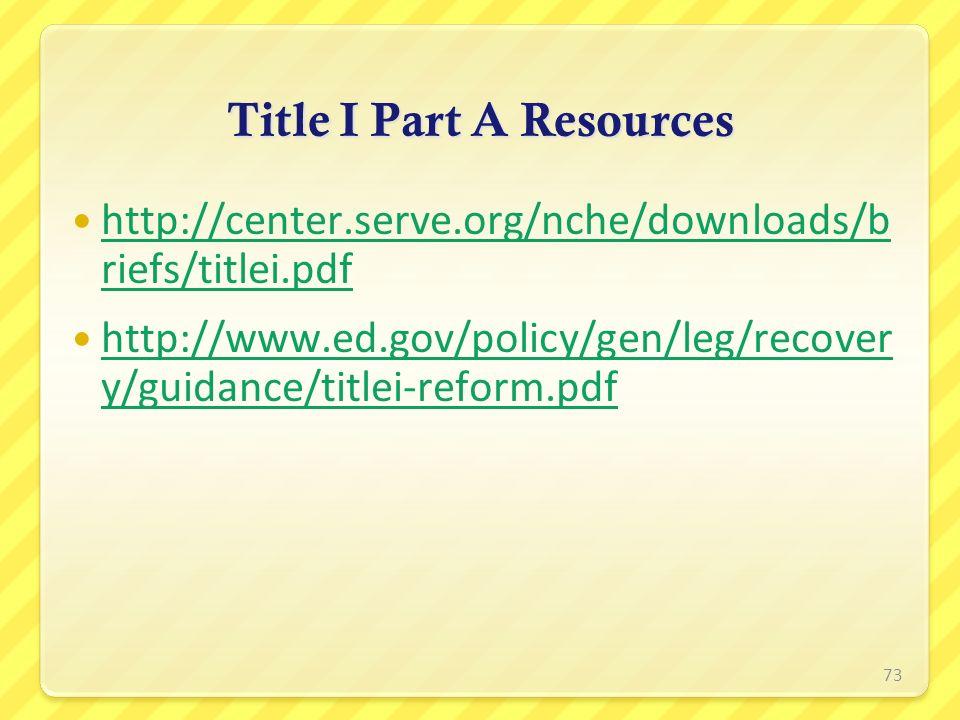 Title I Part A Resources