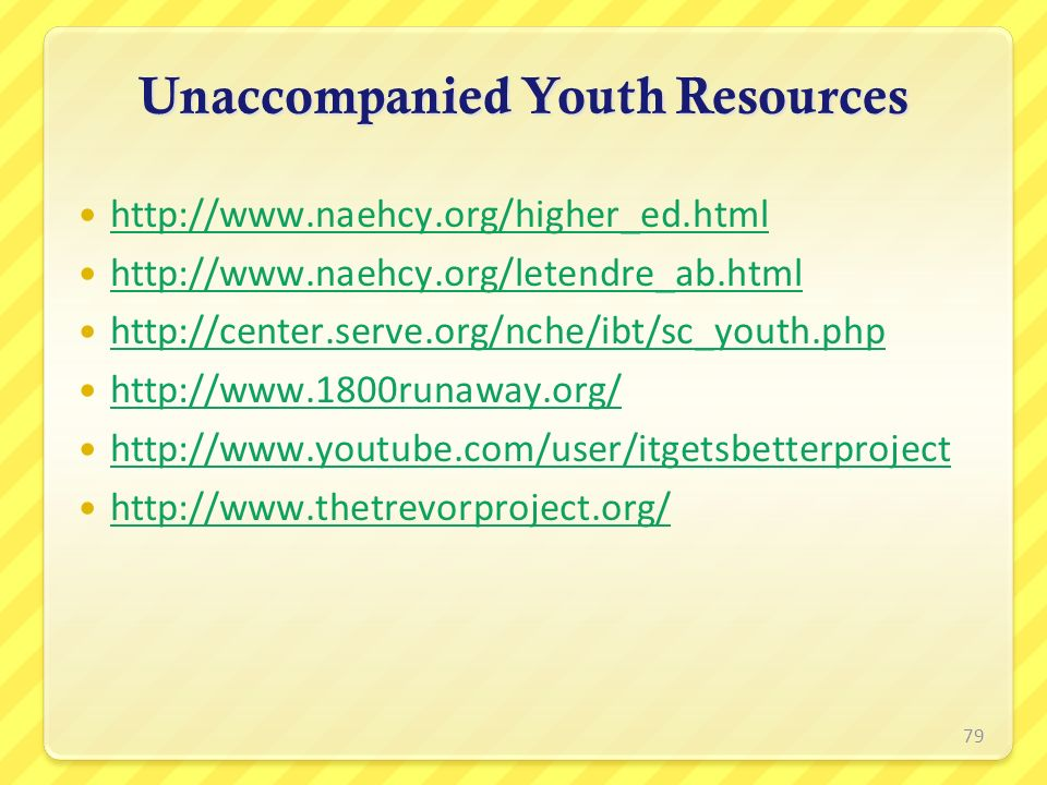 Unaccompanied Youth Resources