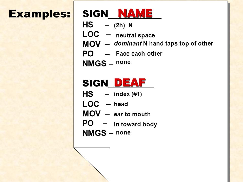 NAME Examples: DEAF SIGN__________ HS – LOC – MOV – PO – NMGS – PO –
