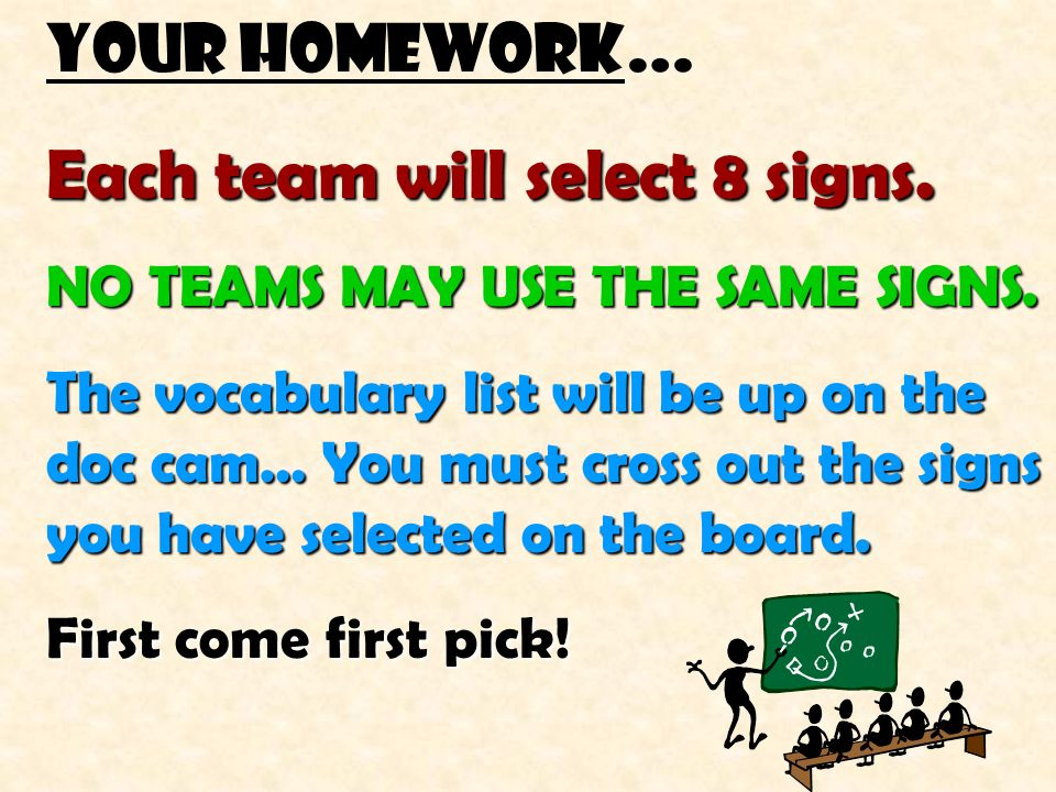 Each team will select 8 signs.