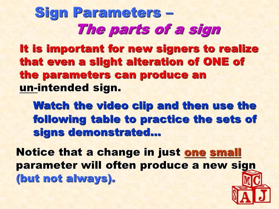 Sign Parameters – The parts of a sign