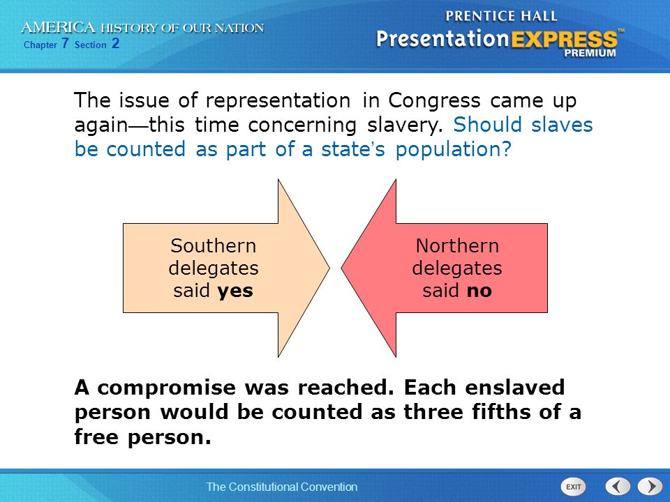 The issue of representation in Congress came up again—this time concerning slavery. Should slaves be counted as part of a state's population