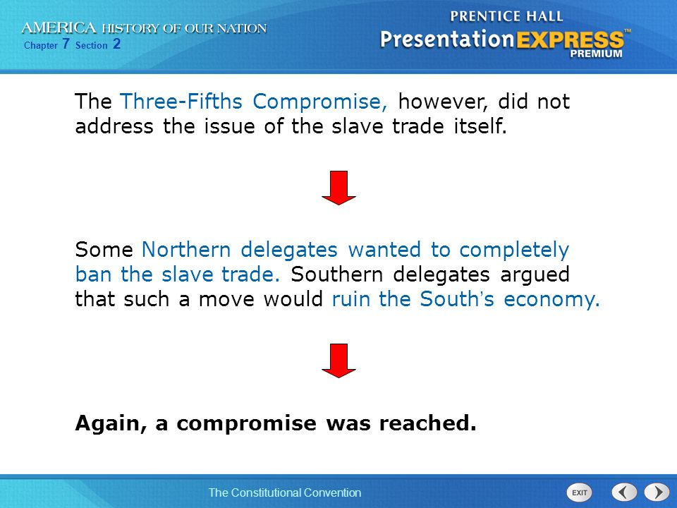 The Three-Fifths Compromise, however, did not address the issue of the slave trade itself.
