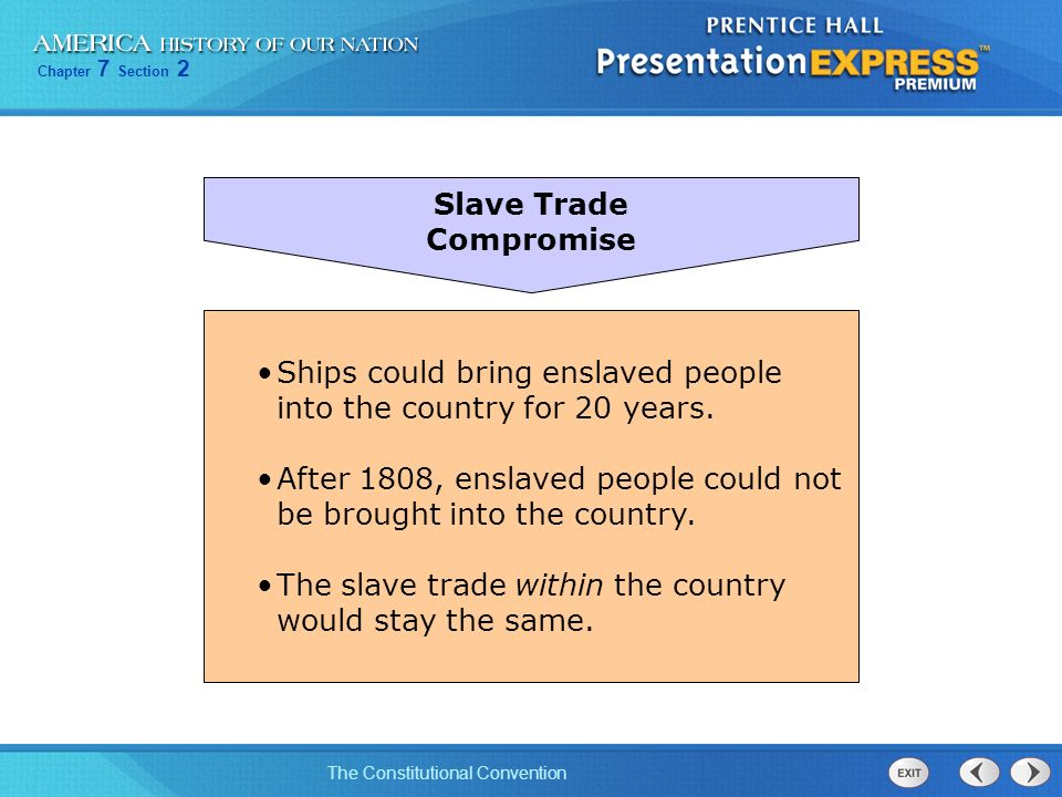 Slave Trade Compromise. Ships could bring enslaved people into the country for 20 years.