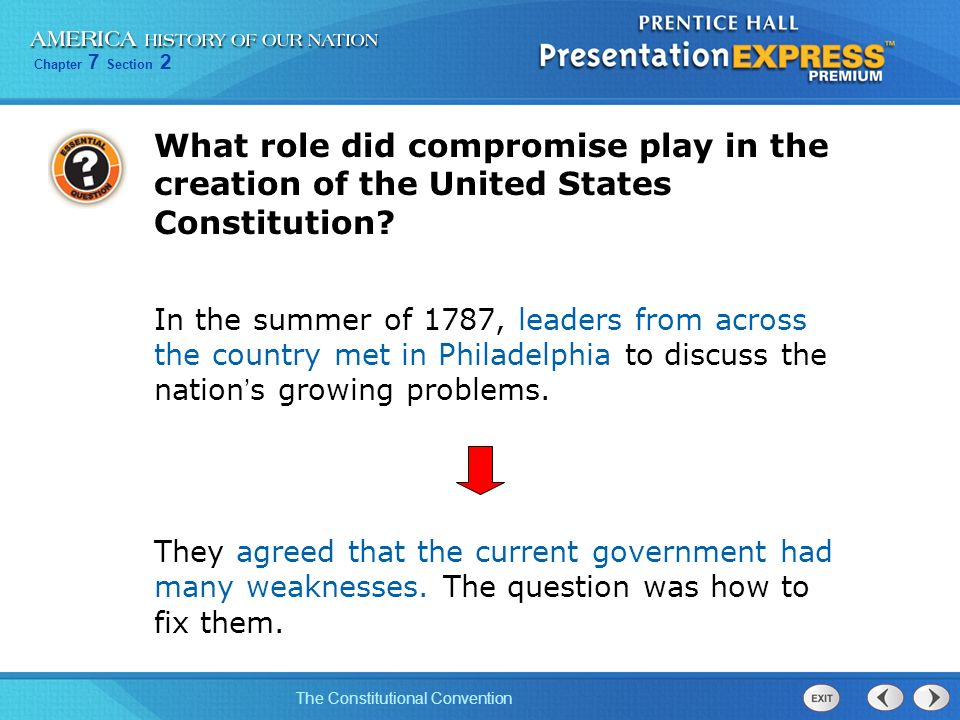 What role did compromise play in the creation of the United States Constitution