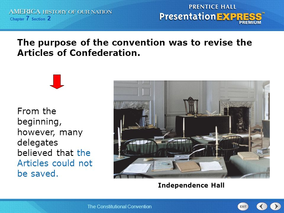 The purpose of the convention was to revise the Articles of Confederation.