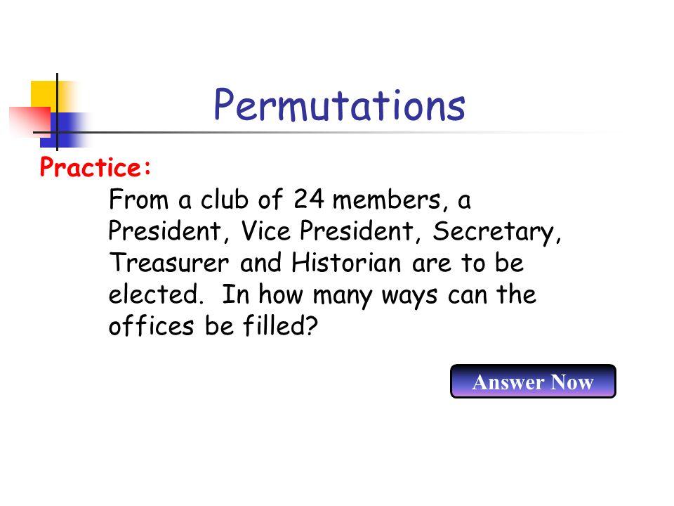 Permutations Practice: