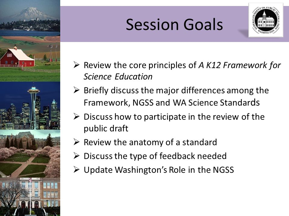 Session GoalsReview the core principles of A K12 Framework for Science Education.