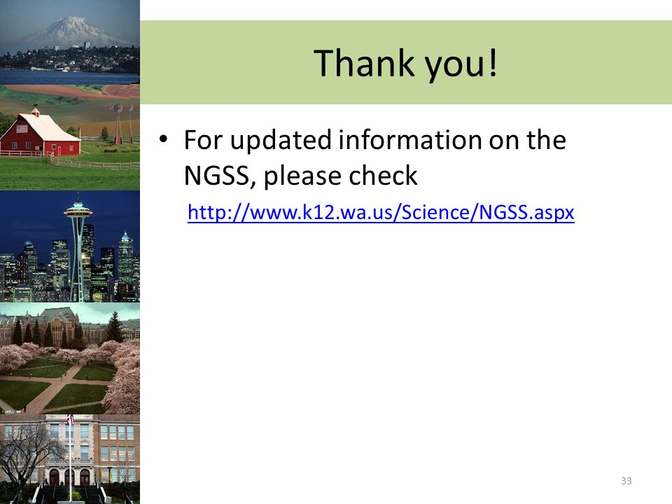 Thank you! For updated information on the NGSS, please check