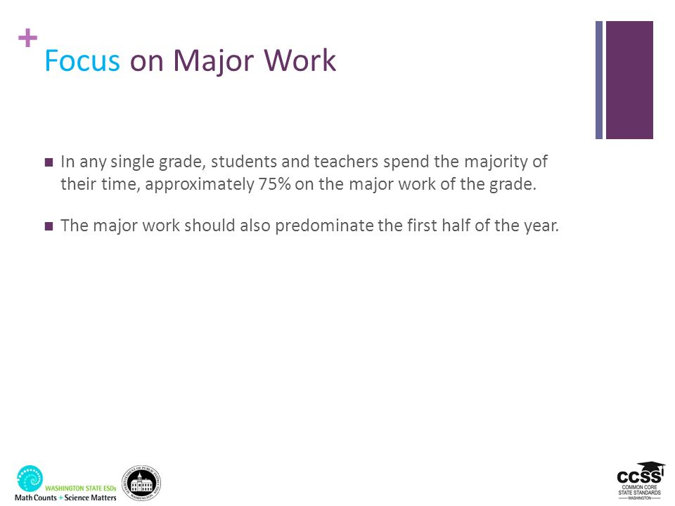 Focus on Major Work In any single grade, students and teachers spend the majority of their time, approximately 75% on the major work of the grade.