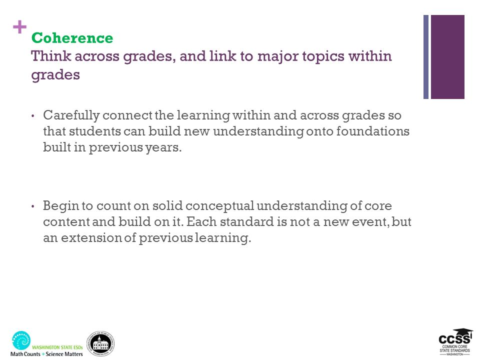 Coherence Think across grades, and link to major topics within grades