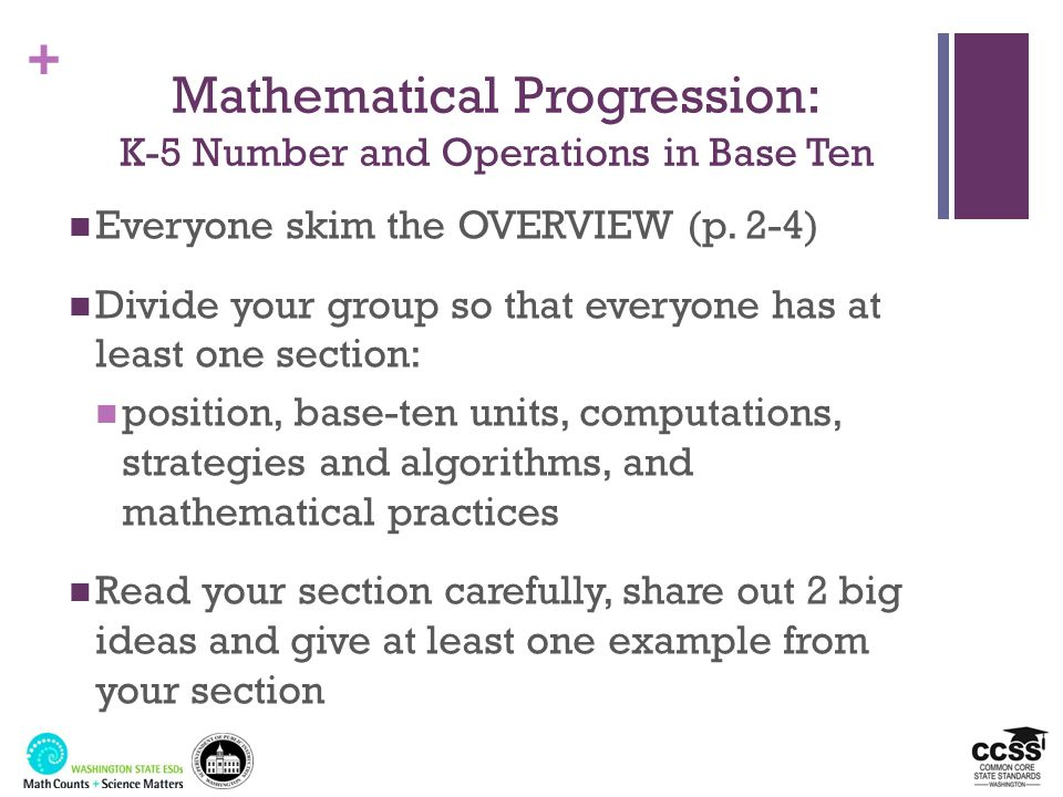 Mathematical Progression: K-5 Number and Operations in Base Ten