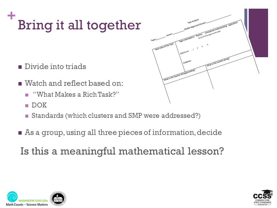 Bring it all together Is this a meaningful mathematical lesson