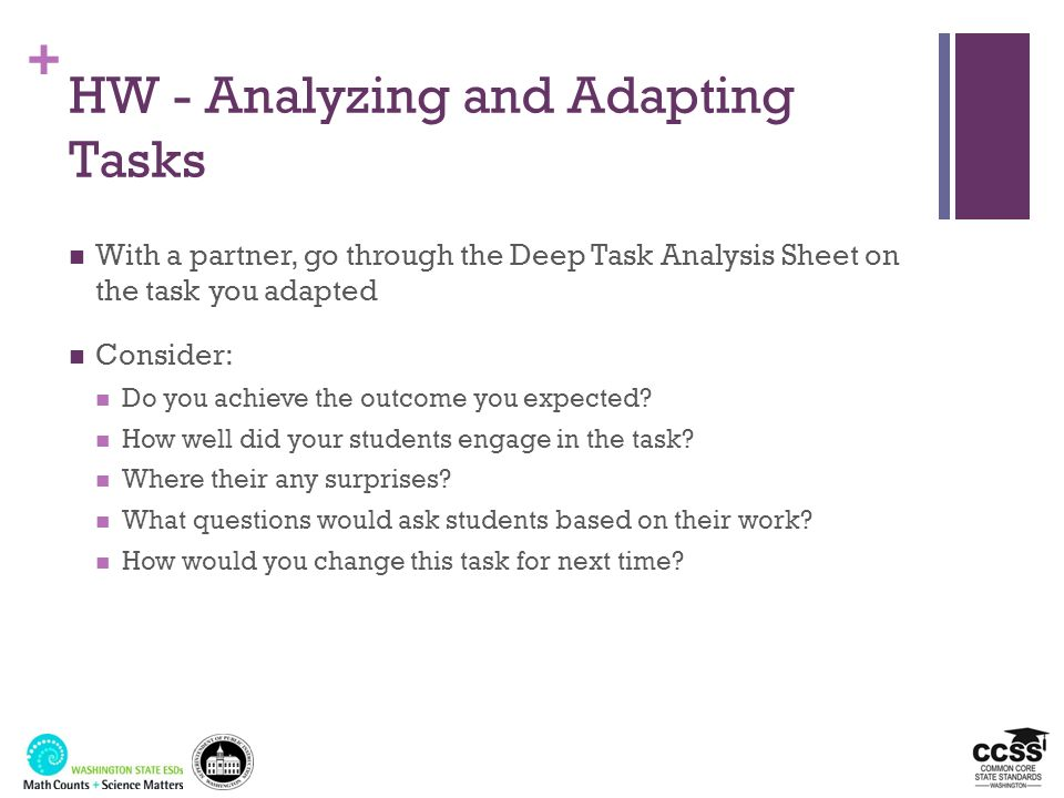 HW - Analyzing and Adapting Tasks