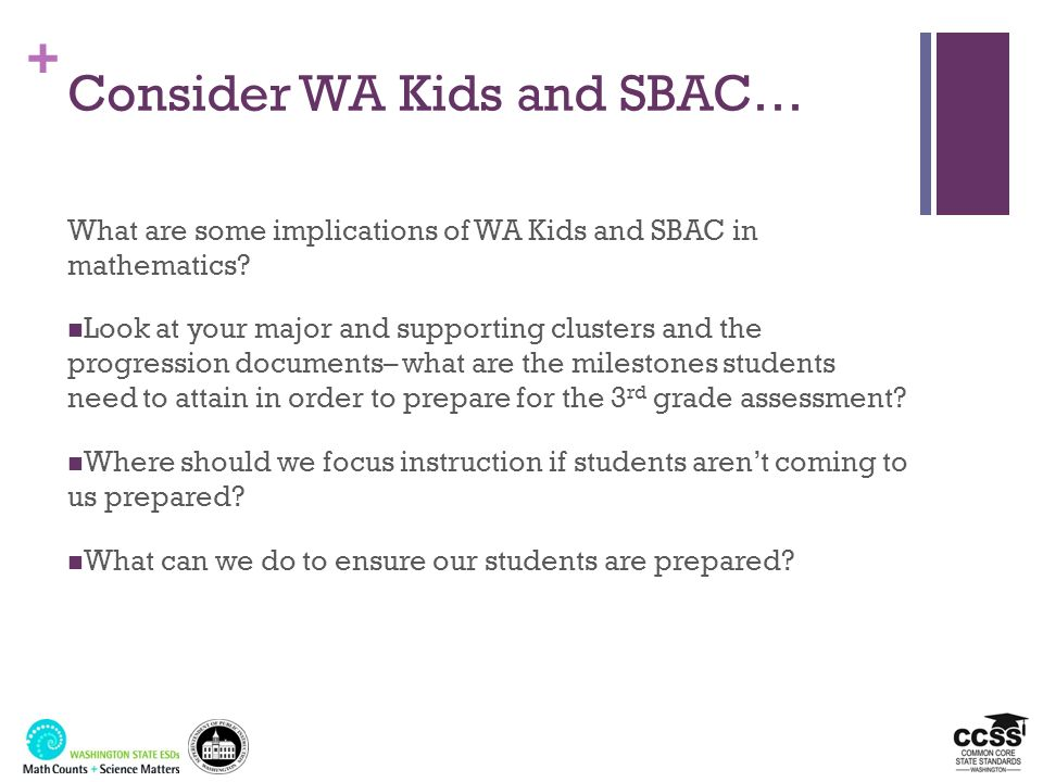 Consider WA Kids and SBAC…