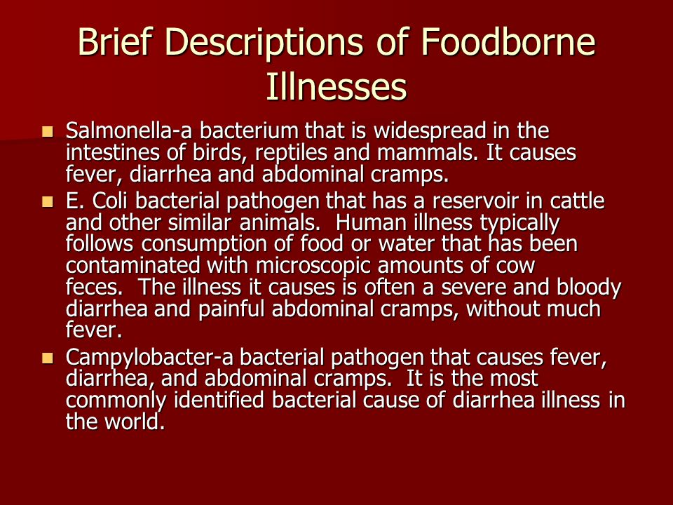 Brief Descriptions of Foodborne Illnesses