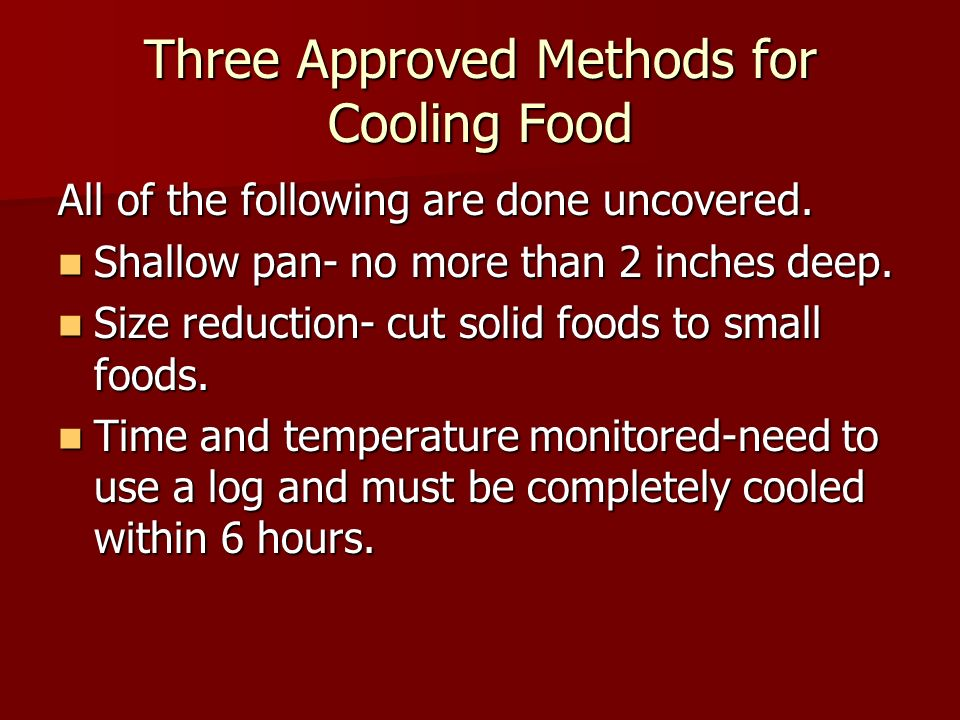Three Approved Methods for Cooling Food