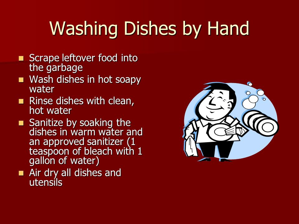 Washing Dishes by Hand Scrape leftover food into the garbage