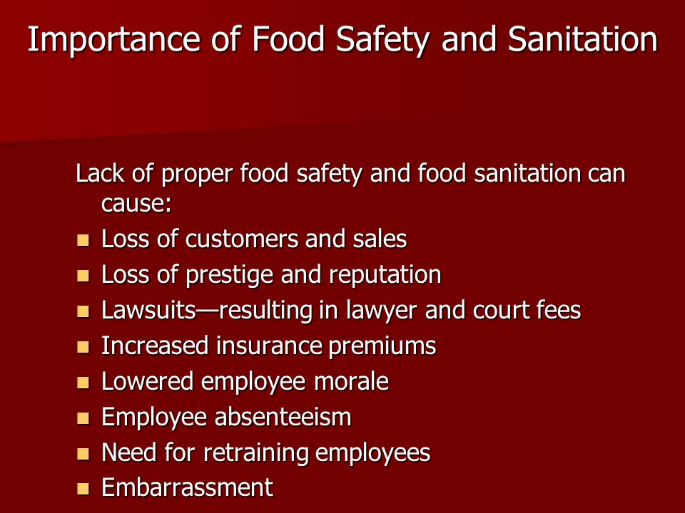 Importance of Food Safety and Sanitation