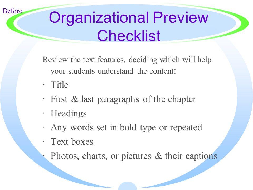 Organizational Preview Checklist