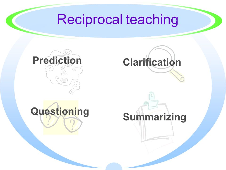 Reciprocal teaching Prediction Clarification Questioning Summarizing