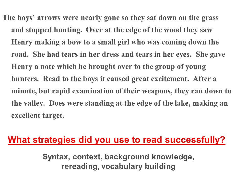 What strategies did you use to read successfully