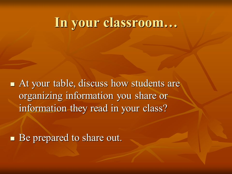 In your classroom… At your table, discuss how students are organizing information you share or information they read in your class
