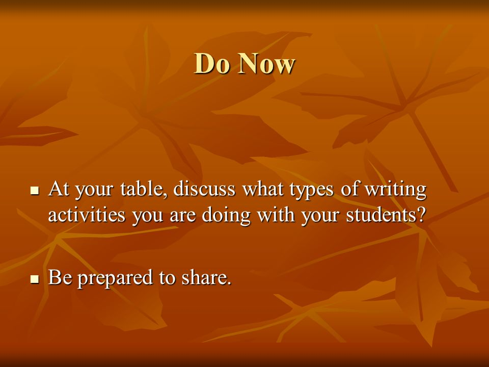 Do Now At your table, discuss what types of writing activities you are doing with your students.