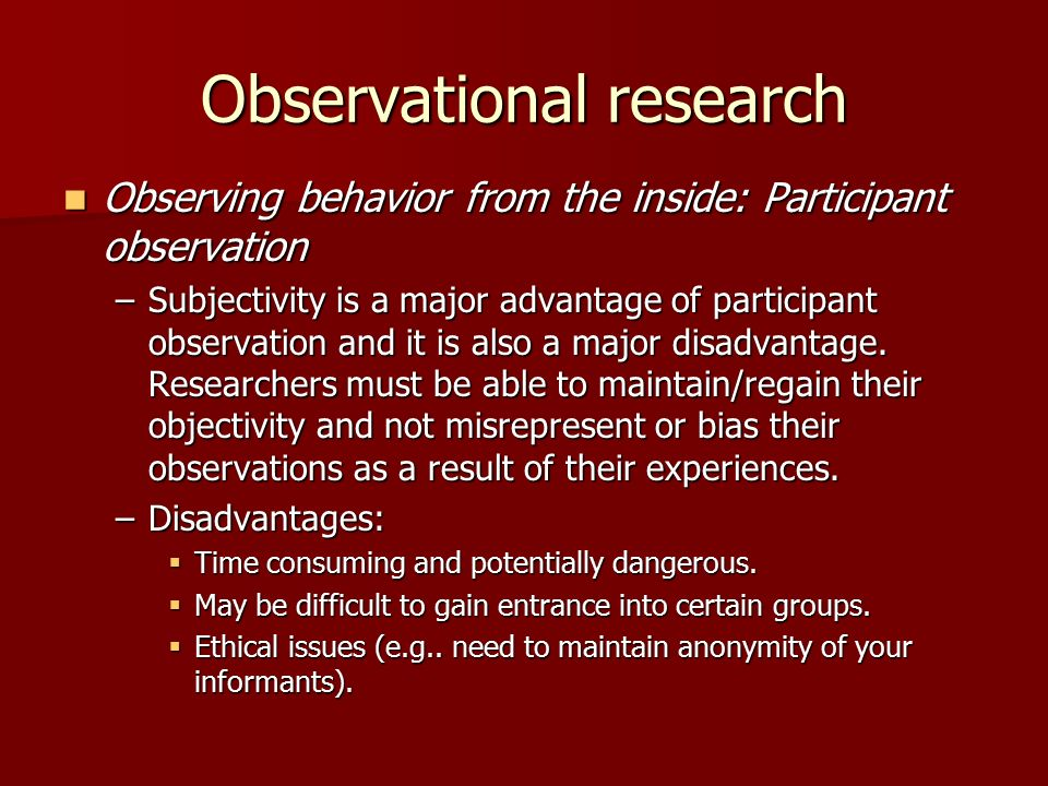 observational research Observational research what is observational research observational research (or field research) is a type of correlational (ie, non-experimental) research in which a researcher.