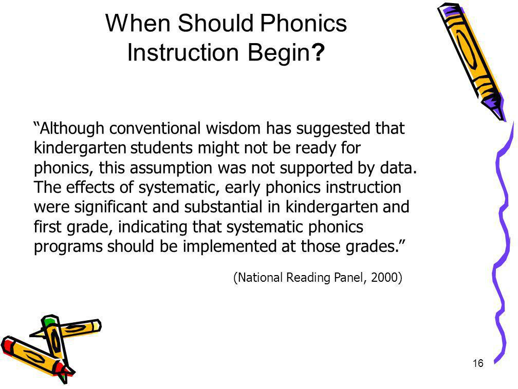 When Should Phonics Instruction Begin