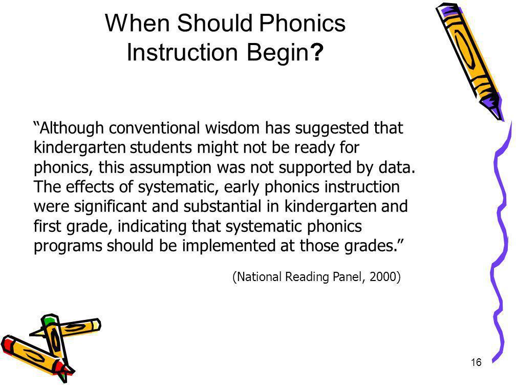 When Should Phonics Instruction Begin