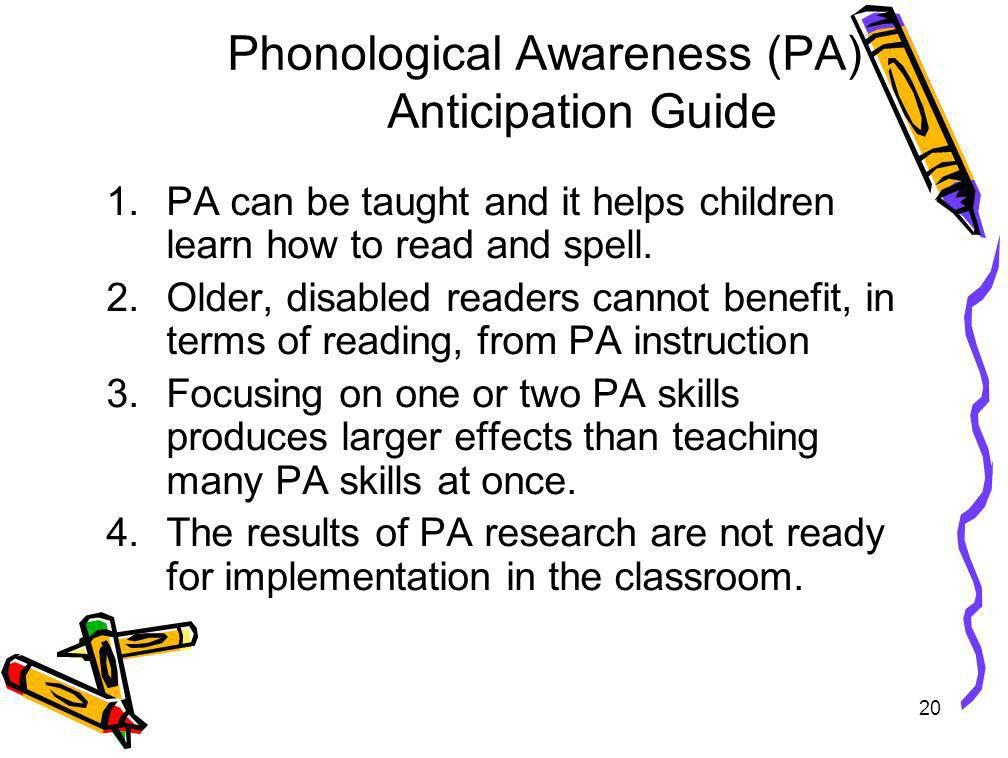 Phonological Awareness (PA) Anticipation Guide