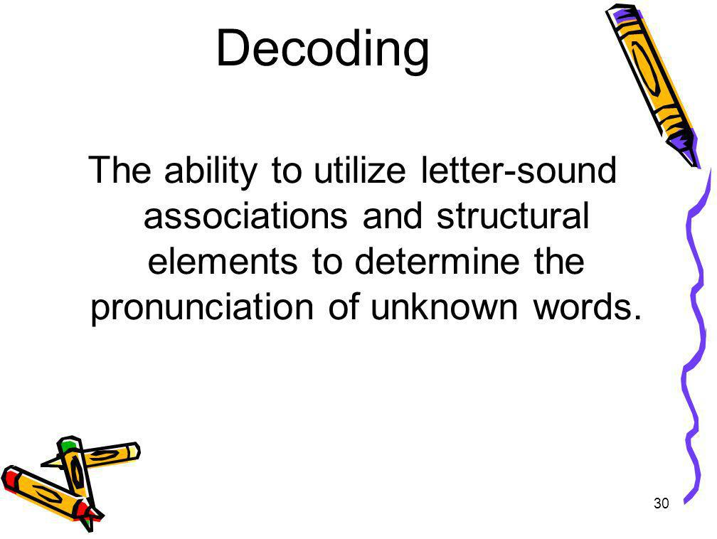 Decoding The ability to utilize letter-sound associations and structural elements to determine the pronunciation of unknown words.