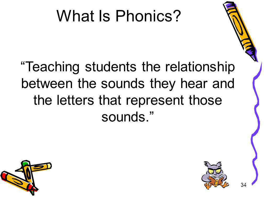 What Is Phonics Teaching students the relationship between the sounds they hear and the letters that represent those sounds.