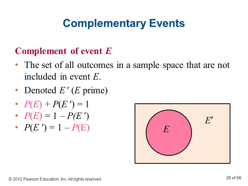 Complementary Events Complement of event E