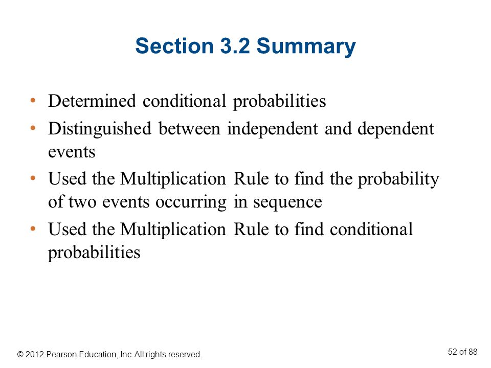Section 3.2 Summary Determined conditional probabilities