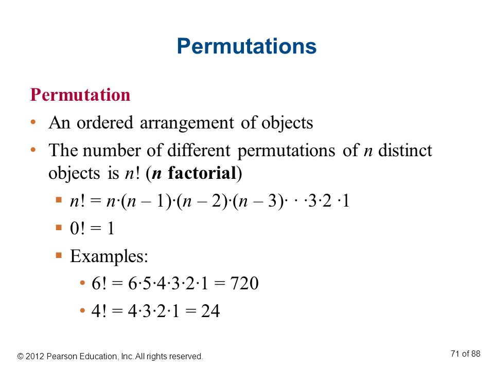 Permutations Permutation An ordered arrangement of objects