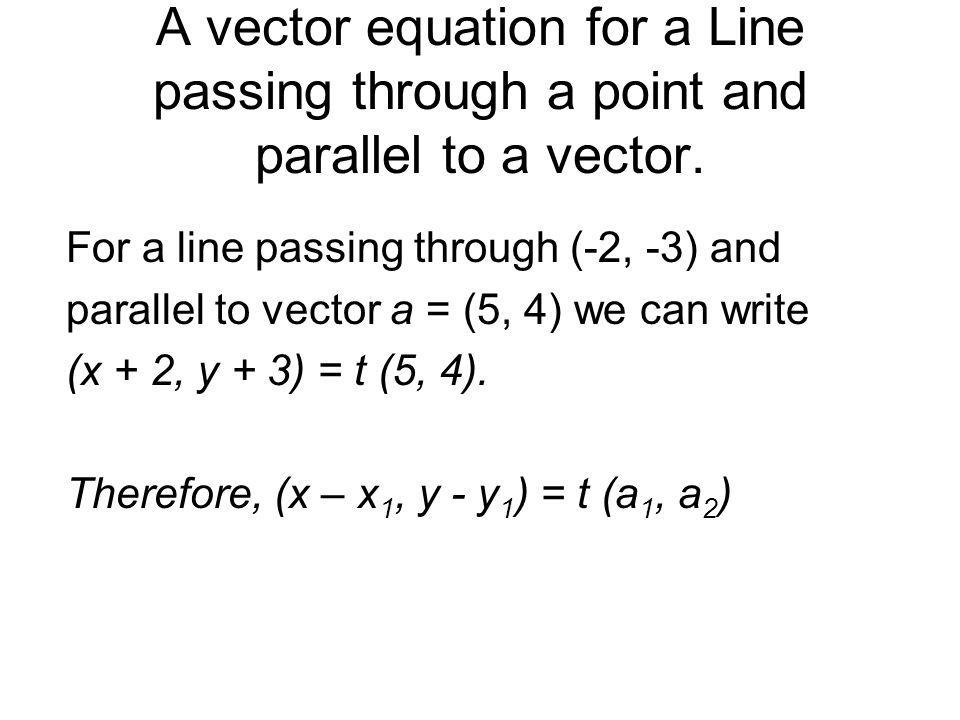 A vector equation for a Line passing through a point and parallel to a vector.
