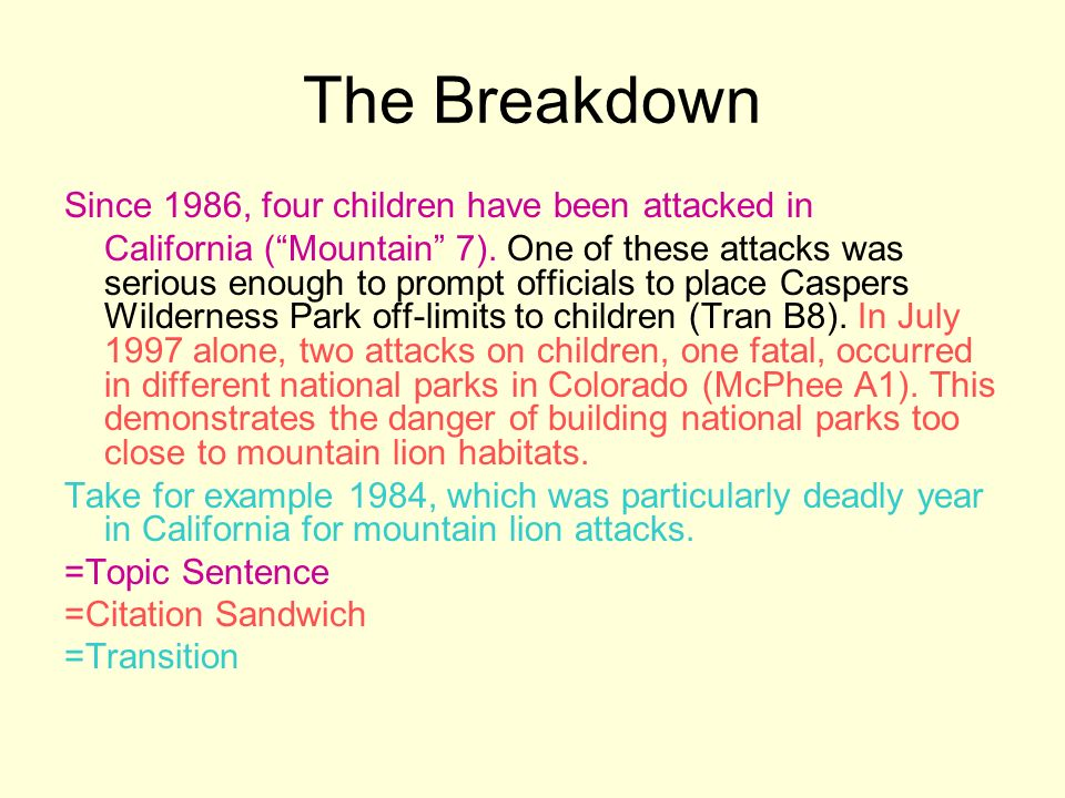 The Breakdown Since 1986, four children have been attacked in